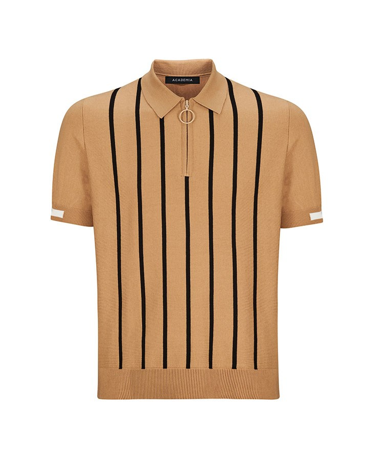 a brown and tan striped shirt