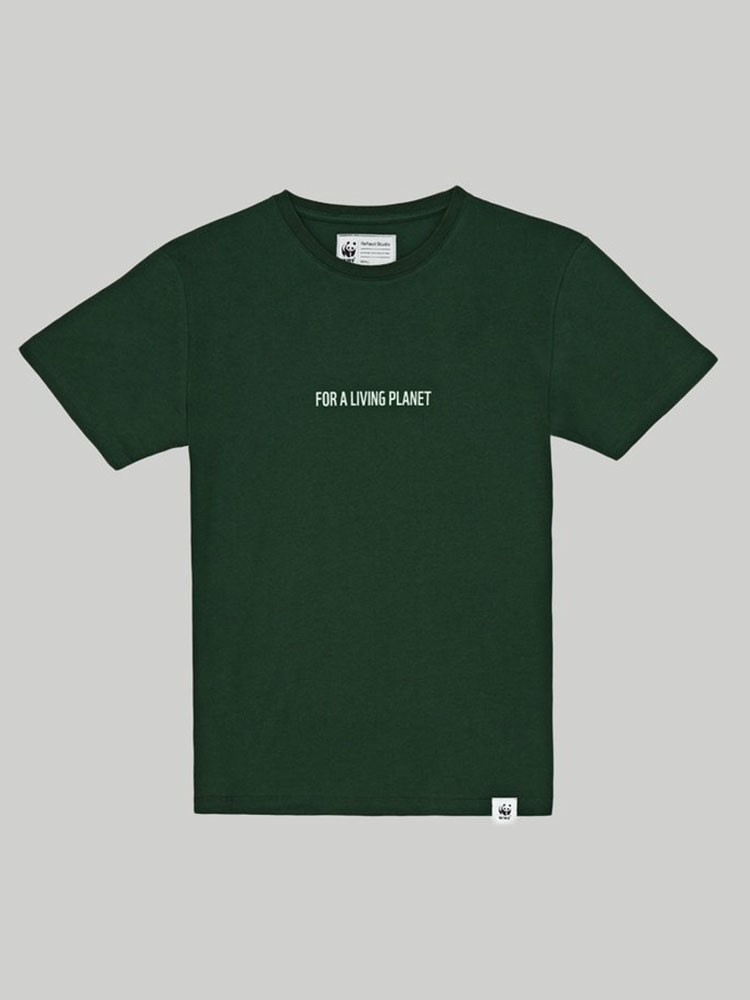 a green t-shirt with white text