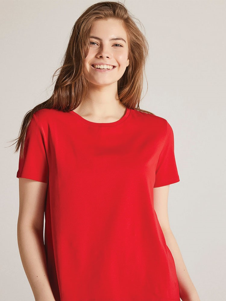 a person in a red shirt