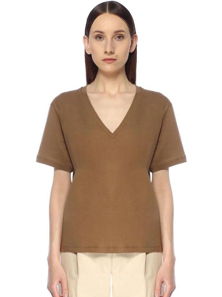 a person wearing a brown shirt