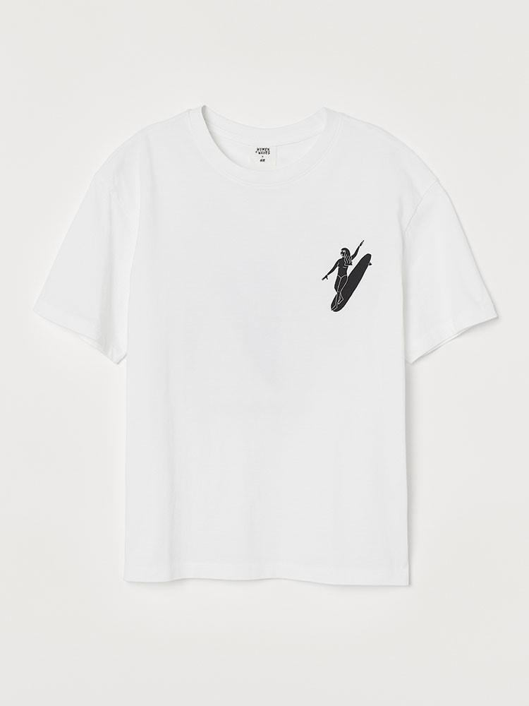 a white t-shirt with a black logo on it
