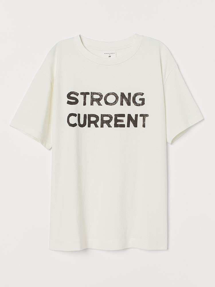 a white t-shirt with black text on it