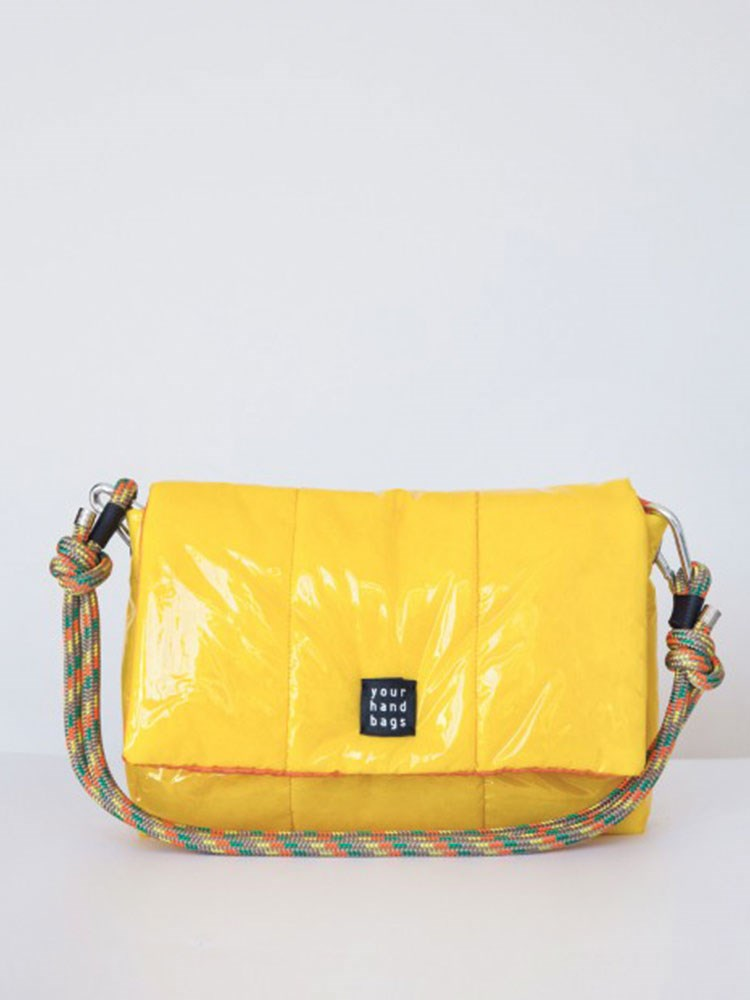 a yellow and black bag