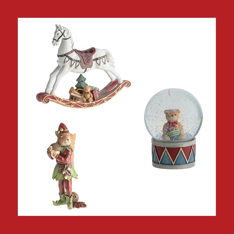 a red and white photo of a toy figurine and a white horse