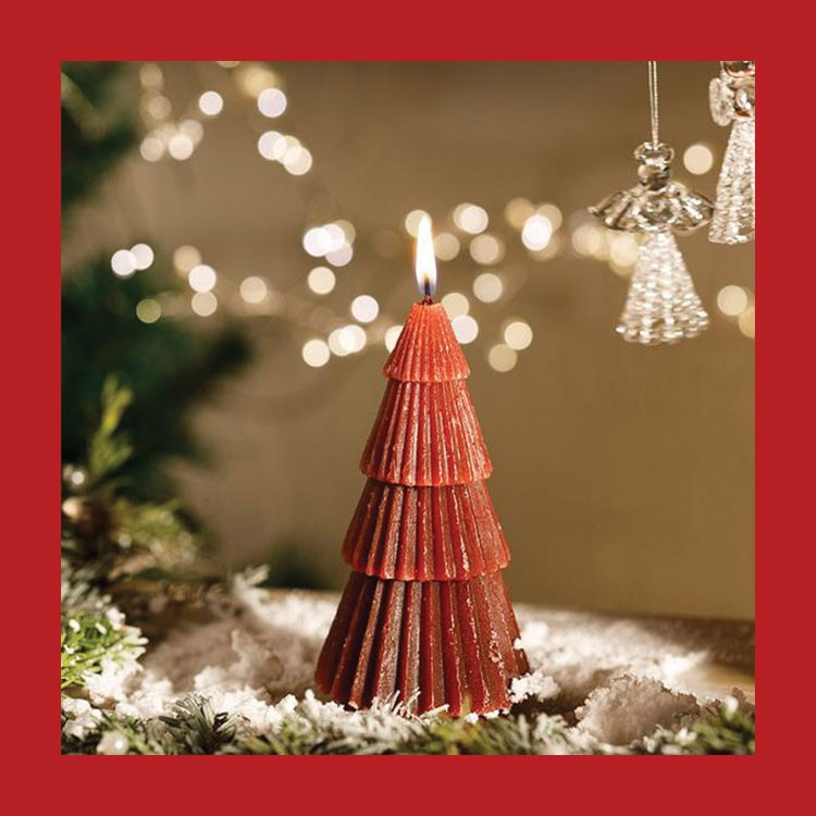 a red christmas tree with lights