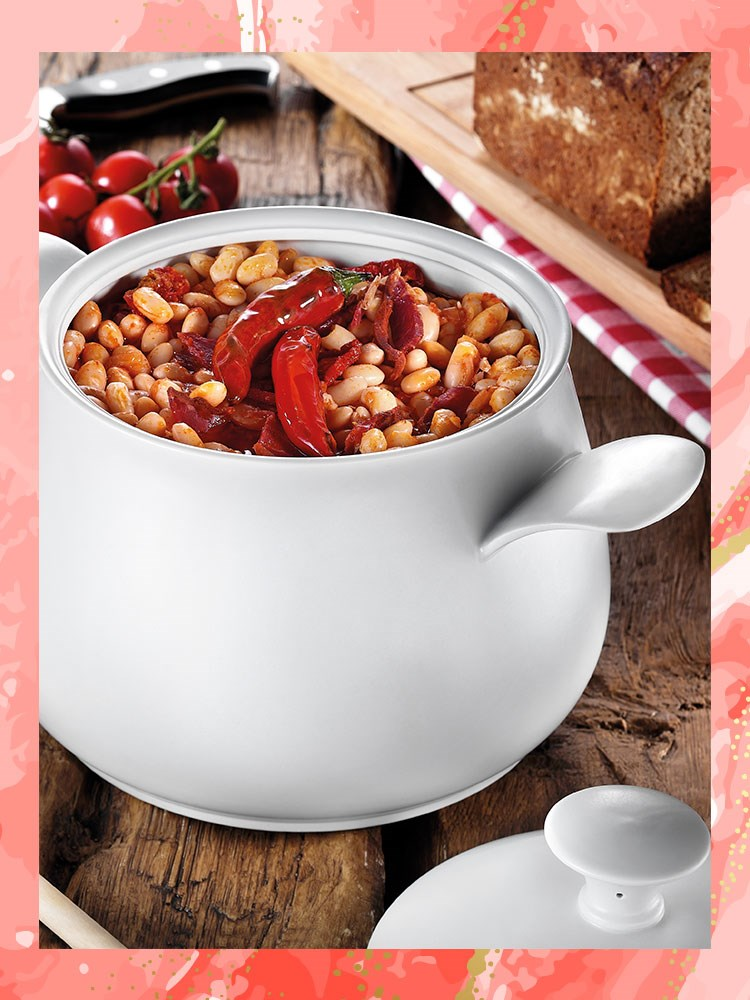a bowl of beans and bread