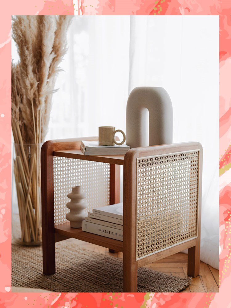 a chair with a coffee cup on it