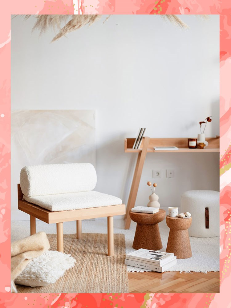 a room with a bed and a chair