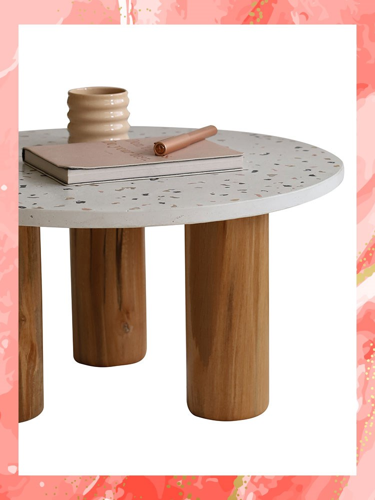 a wooden table with a metal top