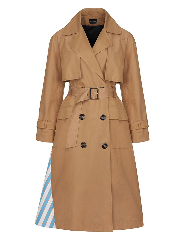 a brown trench coat