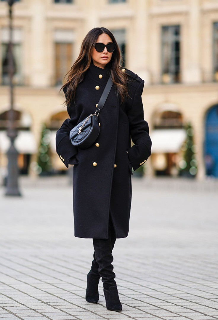 a woman wearing sunglasses and a black coat