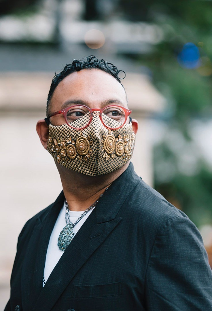 a man with a mask on his face