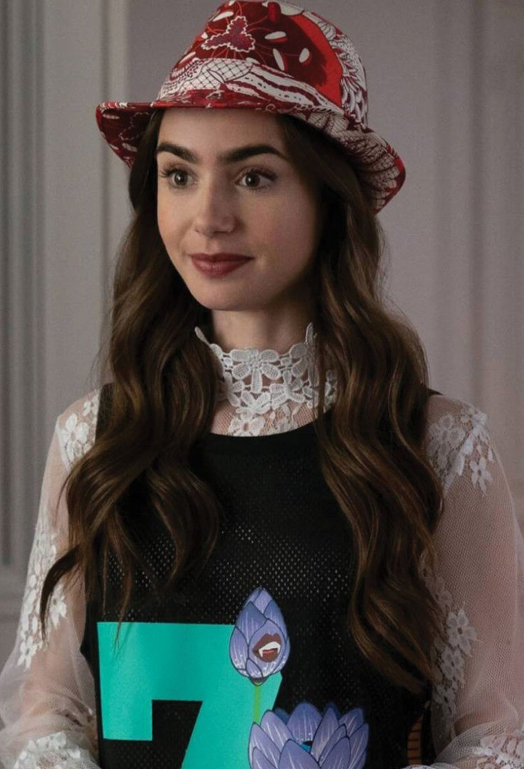 Lily Collins wearing a hat