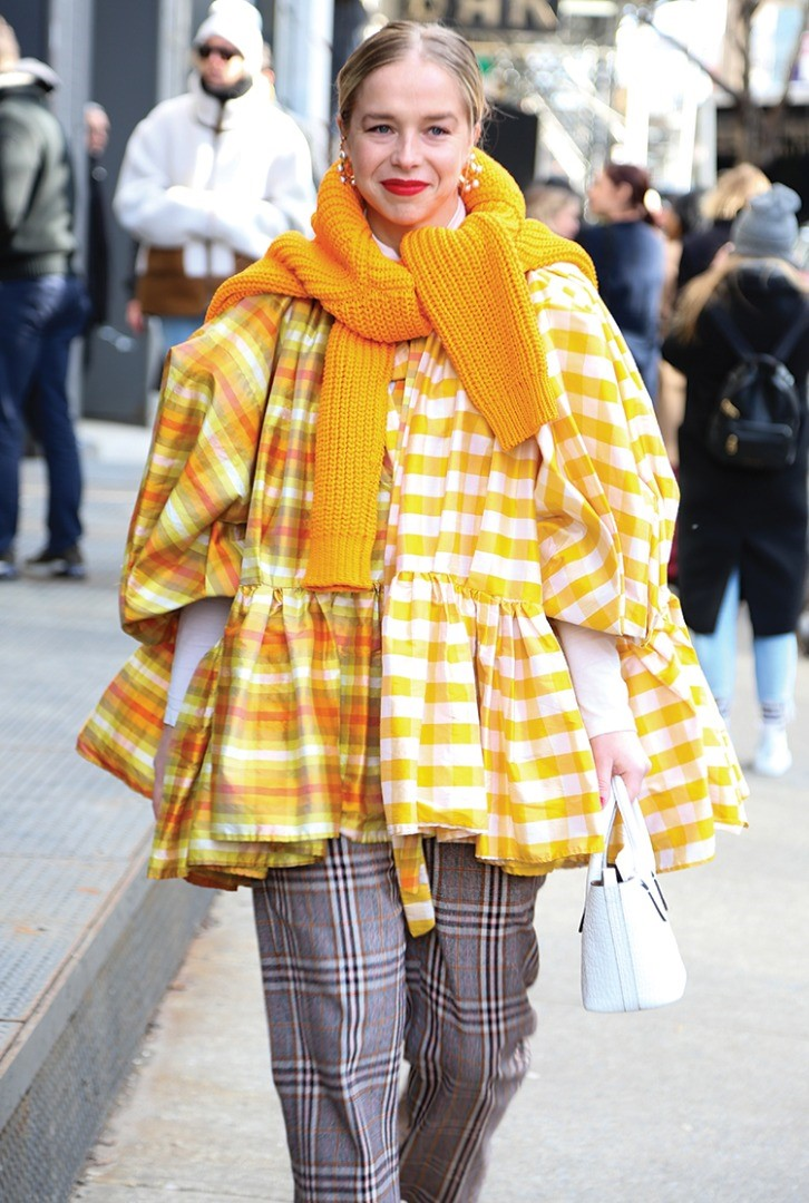 a person in a colorful coat