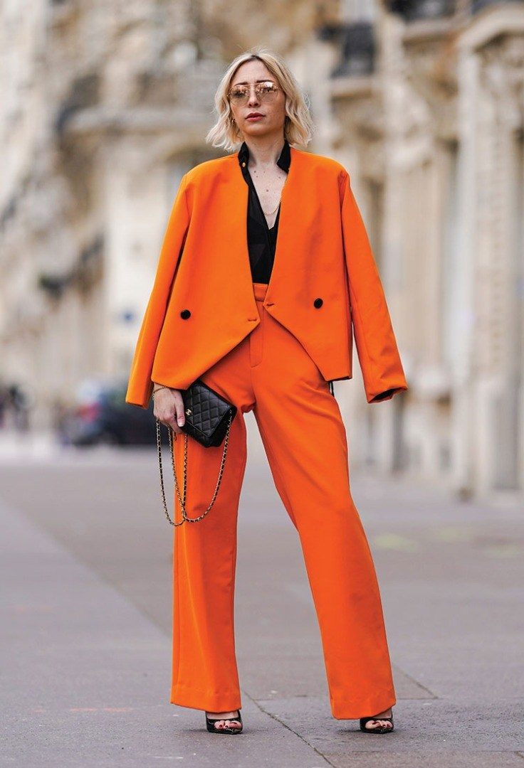a person in an orange suit