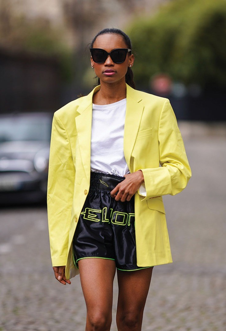 a person wearing a yellow jacket and sunglasses