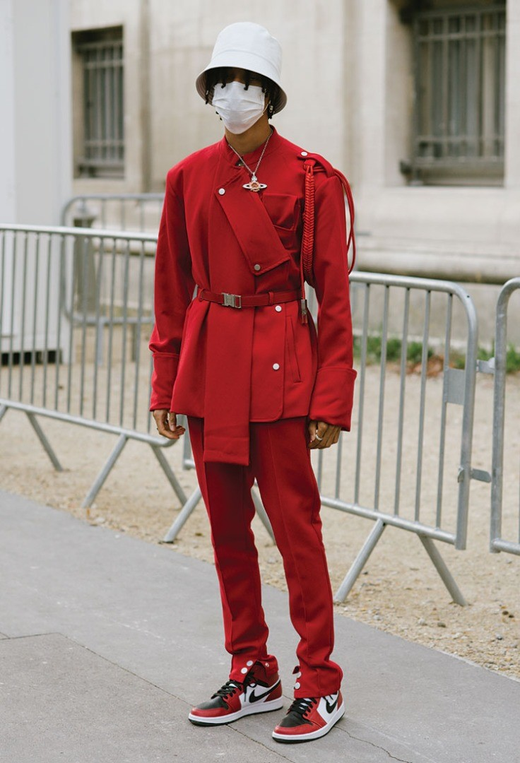a person in a red uniform
