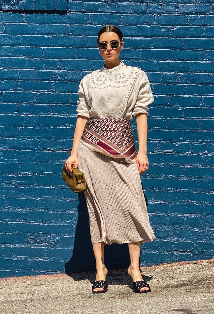 a person in a skirt