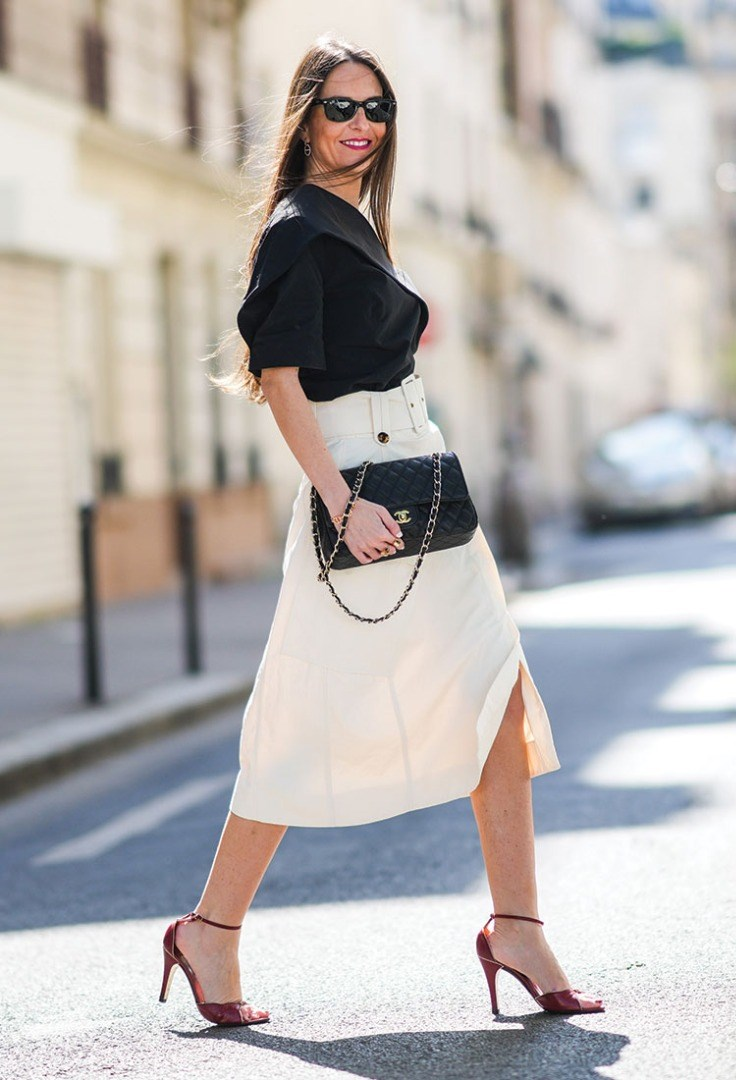 a person in a skirt and heels