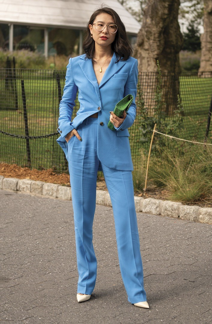 a person in a blue suit