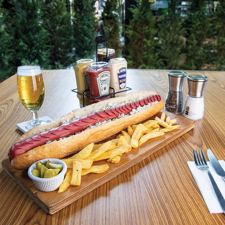 a table with food and drinks on it
