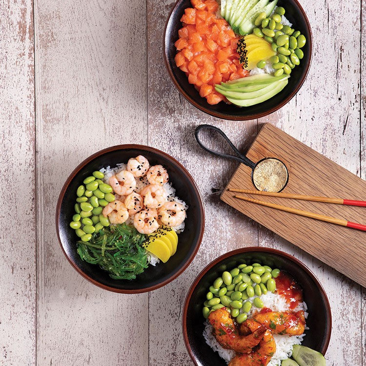 a table with bowls of food