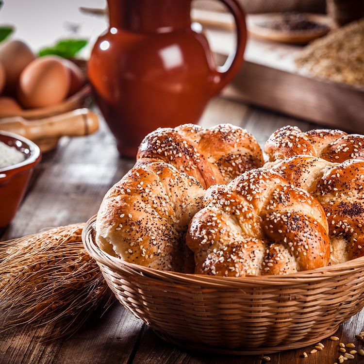 a basket of baked goods