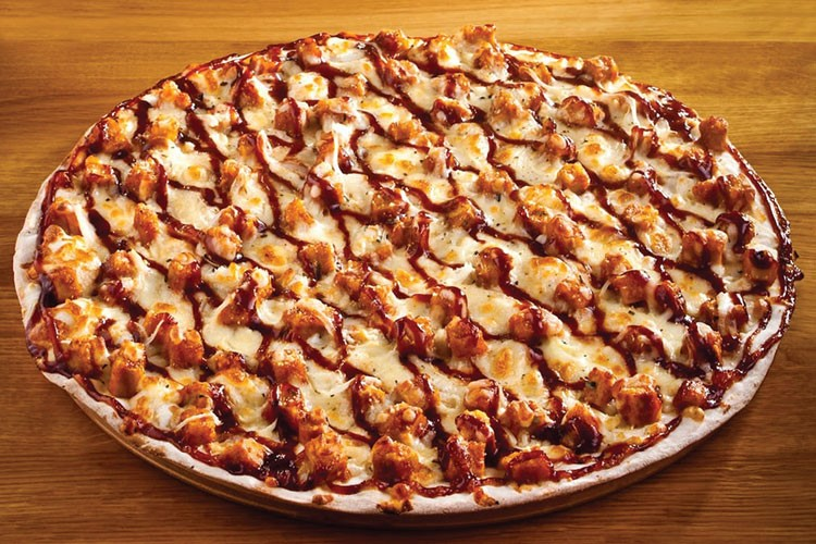 a pizza with cheese