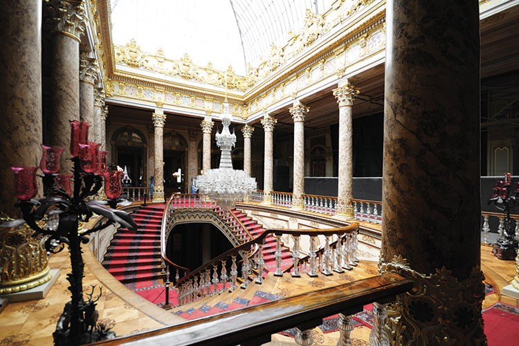 a large ornate building with a large staircase