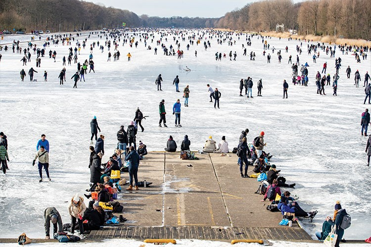 a group of people on ice