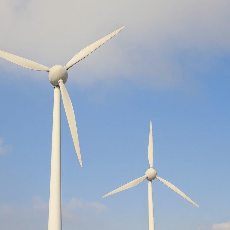 a group of wind turbines