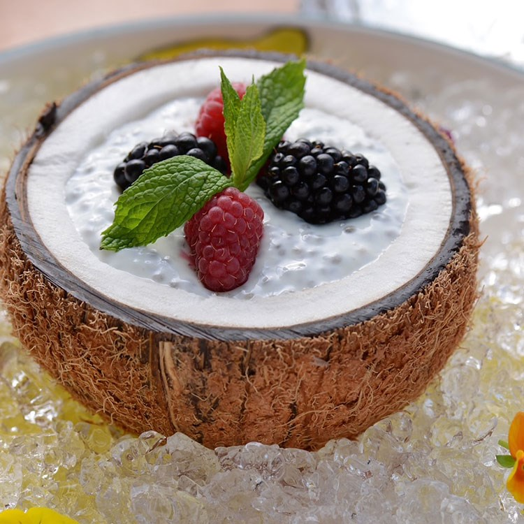 a dessert with fruit on top