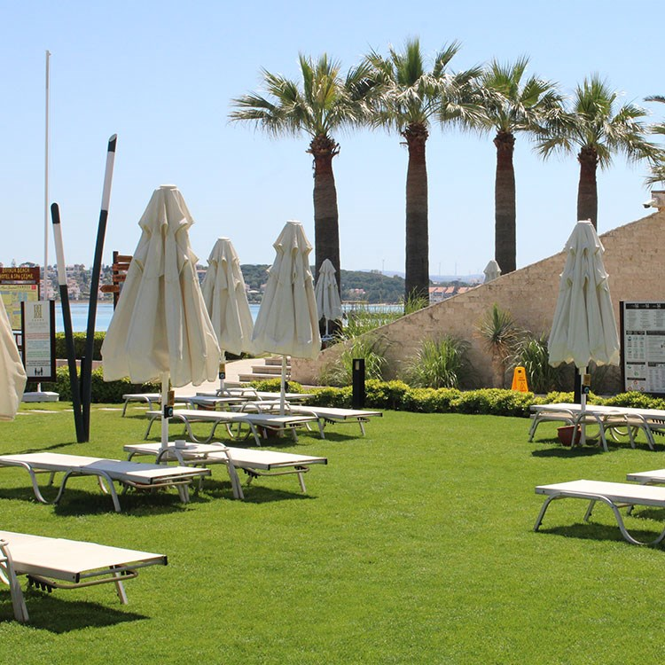 a group of tables and umbrellas in a grassy area