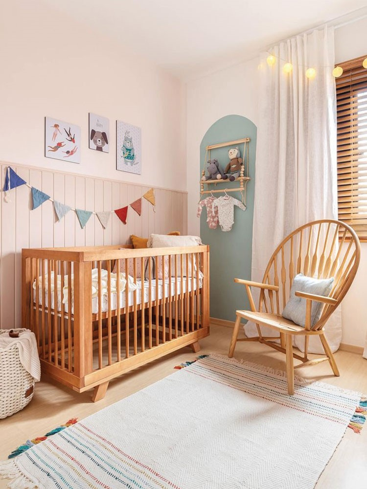a baby crib in a room