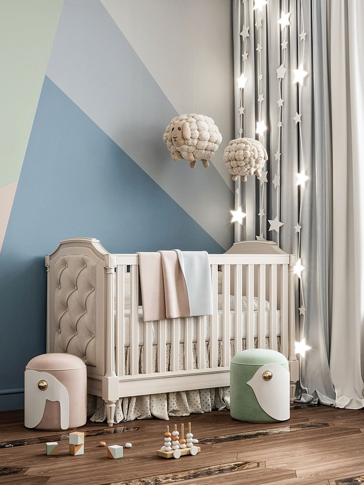 a baby crib with a white cloth and a white pillow