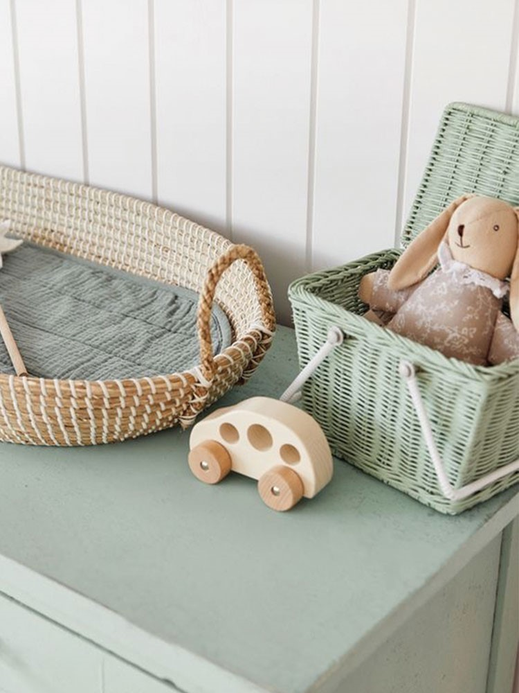 a couple of baskets with objects in them