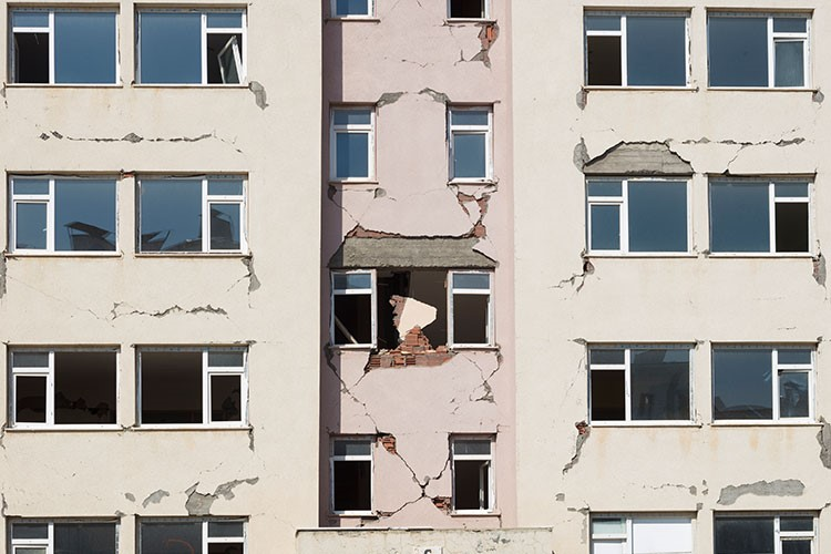 a building with a broken window