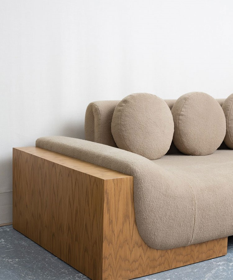 a couch with a table