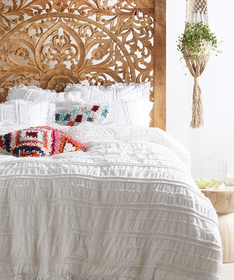 a bed with a headboard