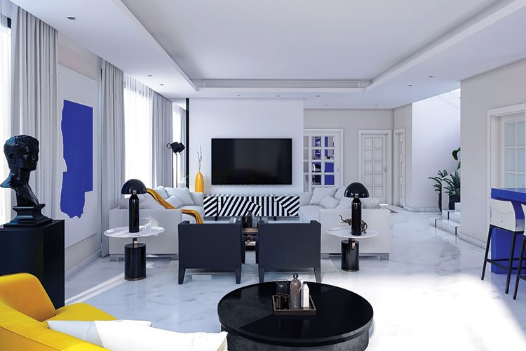 a living room with a tv and chairs