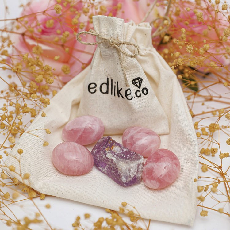 a bag of pink candies