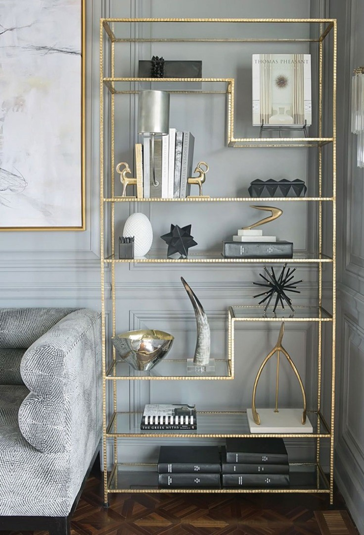 a shelf with objects on it