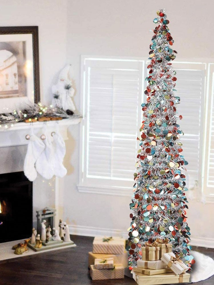 a christmas tree in a room
