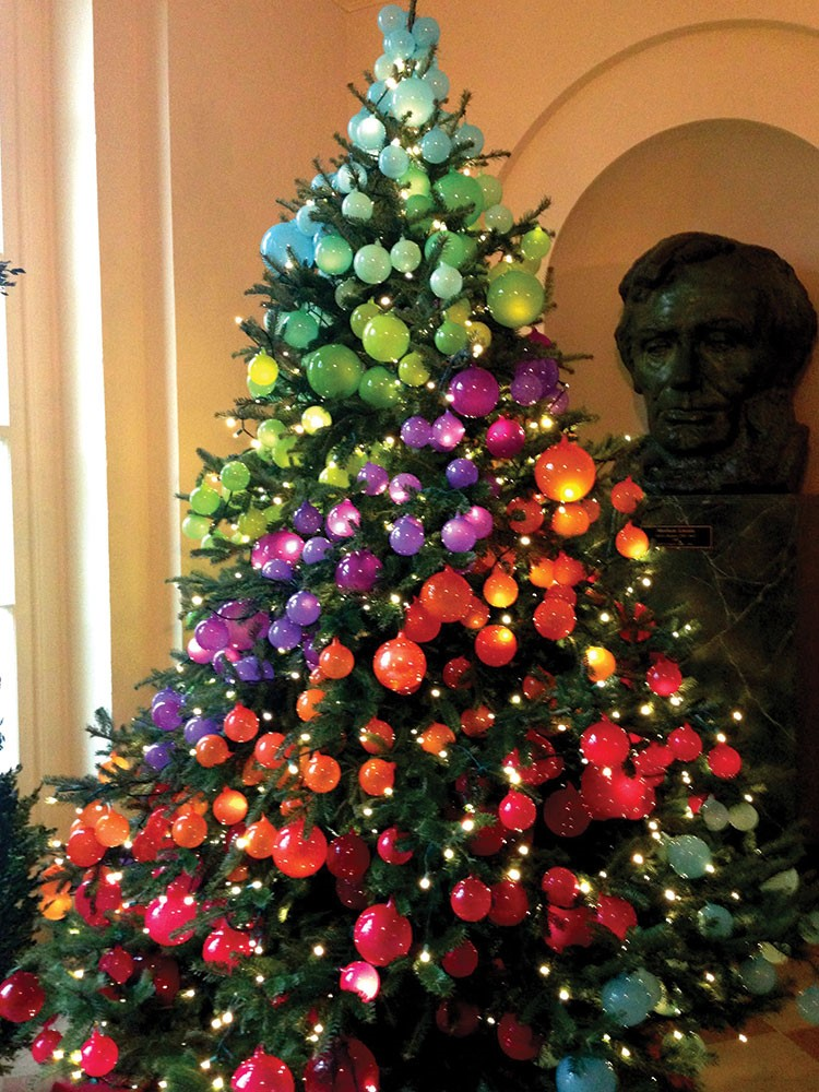 a christmas tree with Lincoln Borglum's face on it