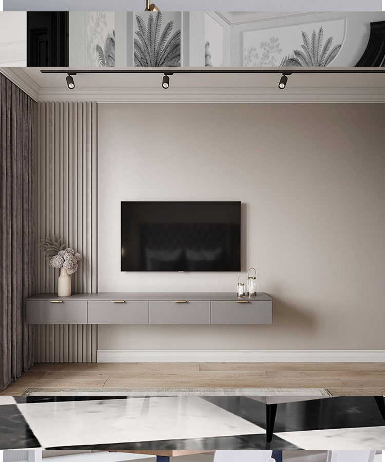 a room with a tv and a table
