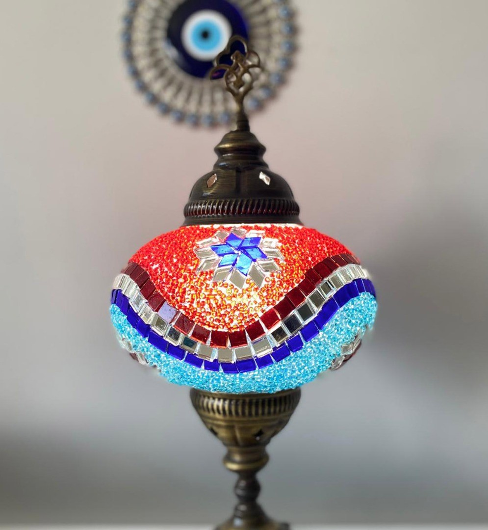 a colorfully decorated lamp