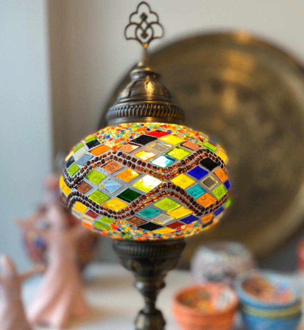a glass orb with a colorful design