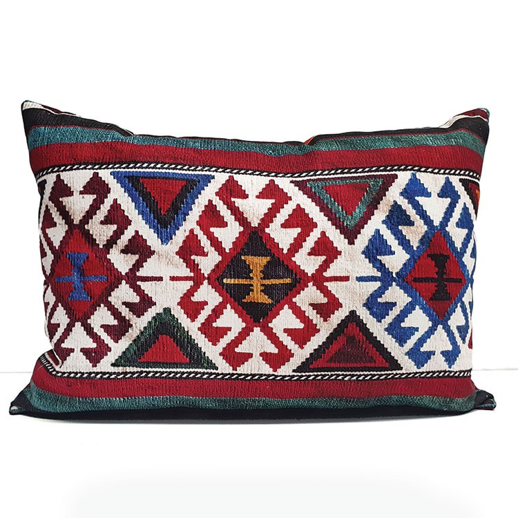 a red and blue pillow