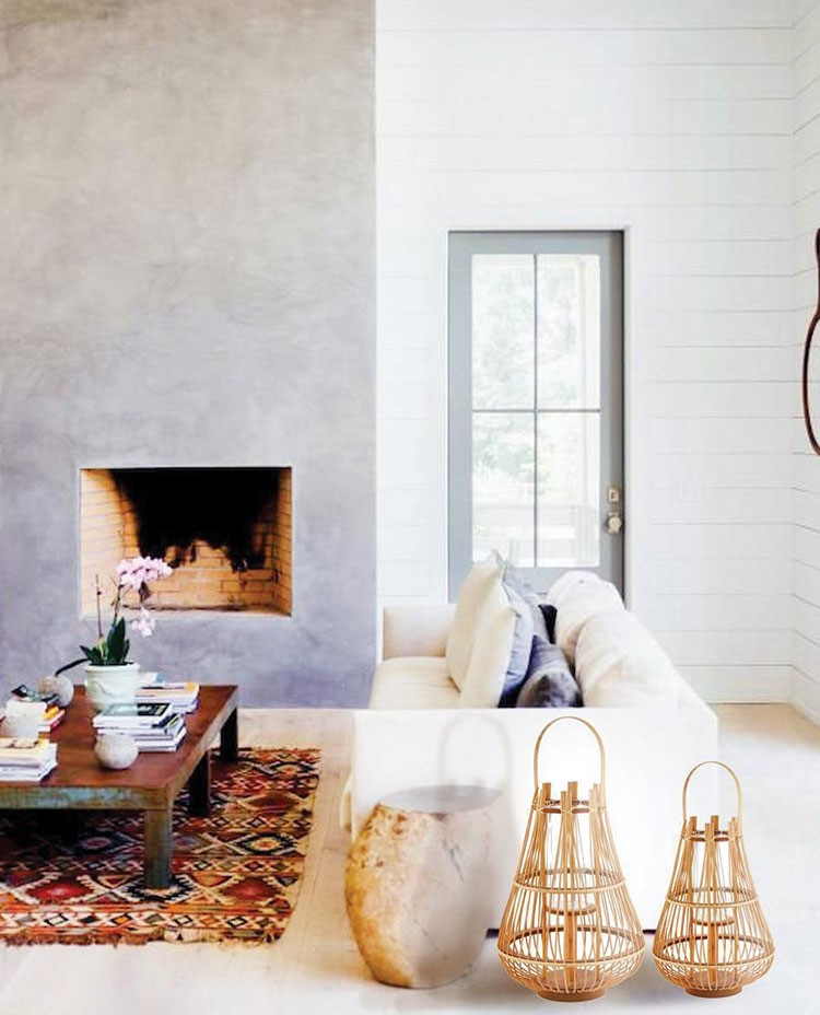 a white living room with a fireplace