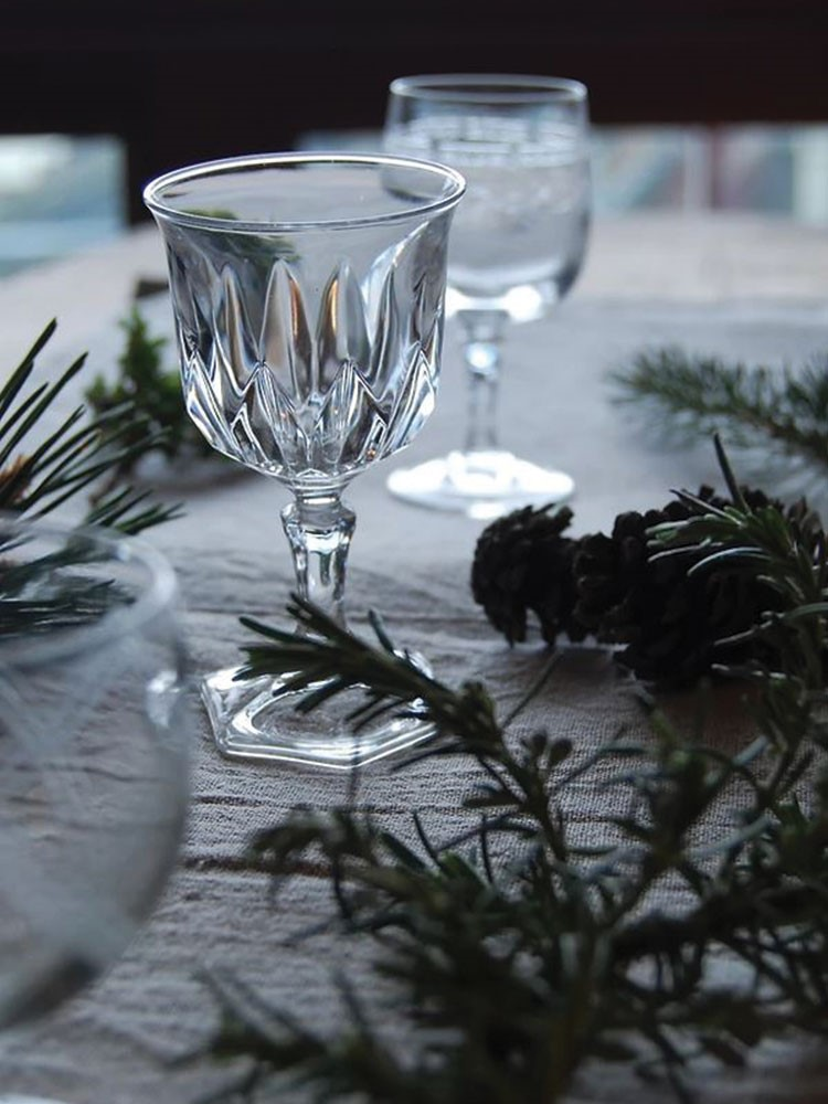 a couple of glasses on a table